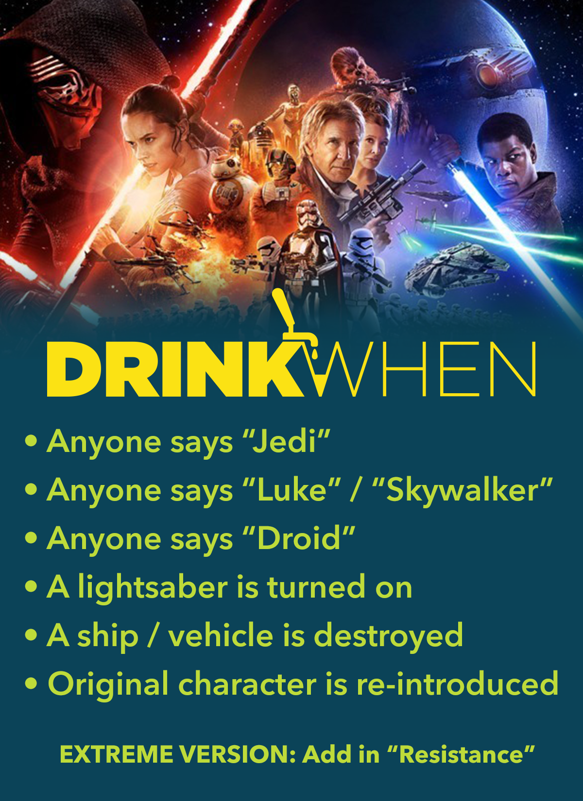 Drink When Star Wars The Force Awakens Drinking Game