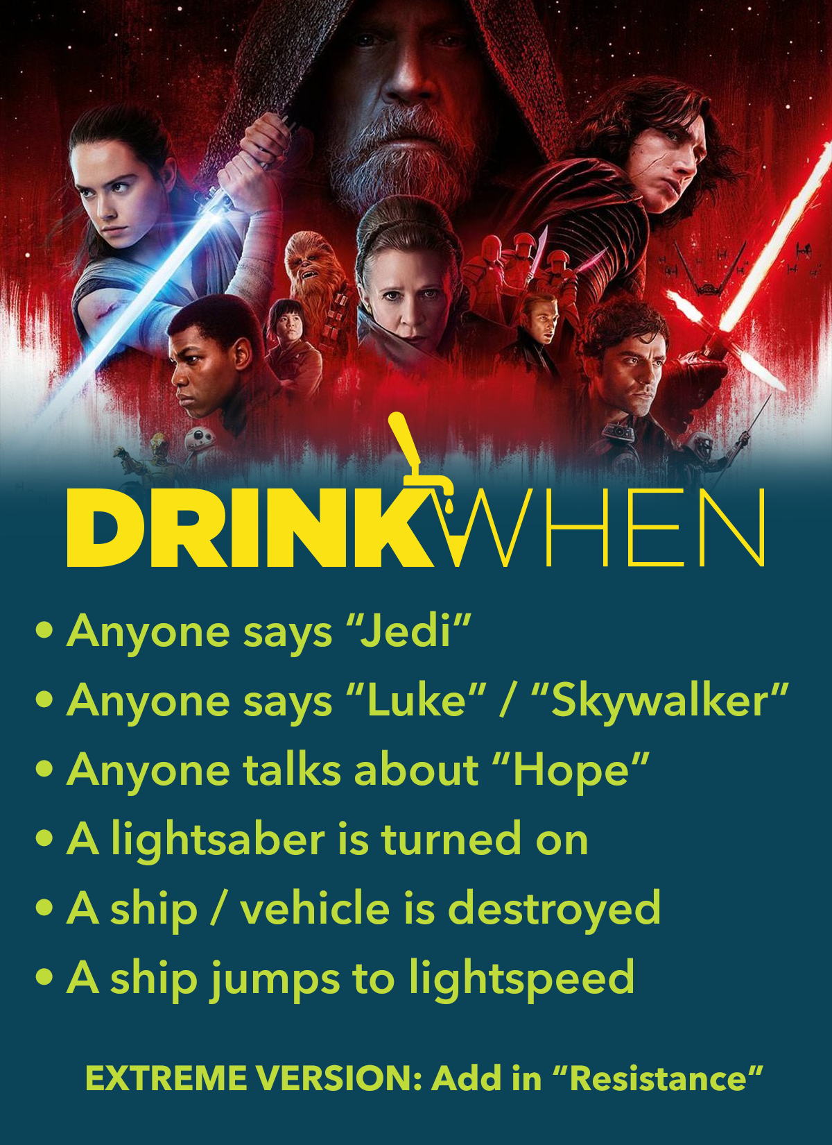 Drink When Star Wars The Last Jedi Drinking Game