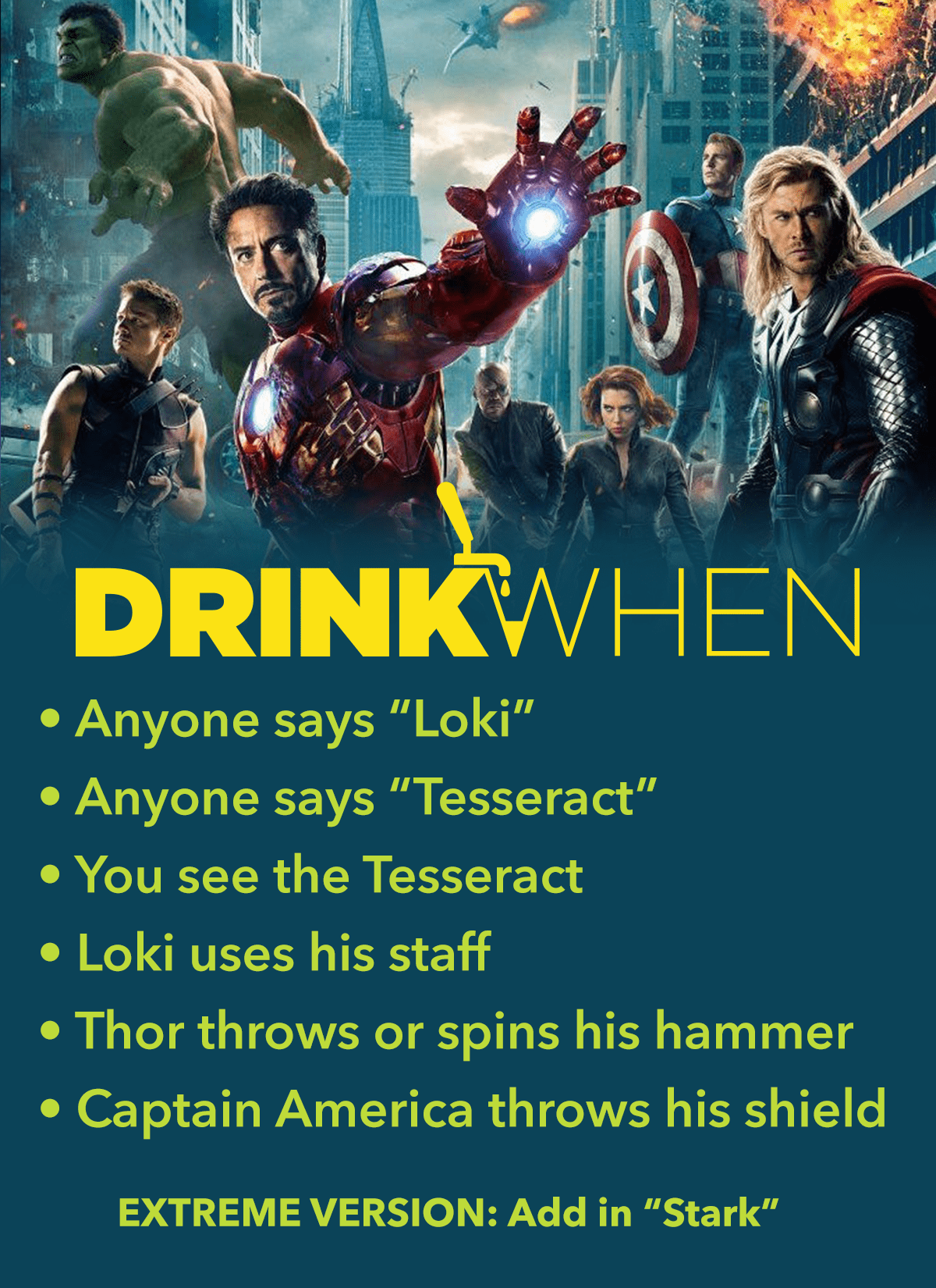 Drink When The Avengers Drinking Game