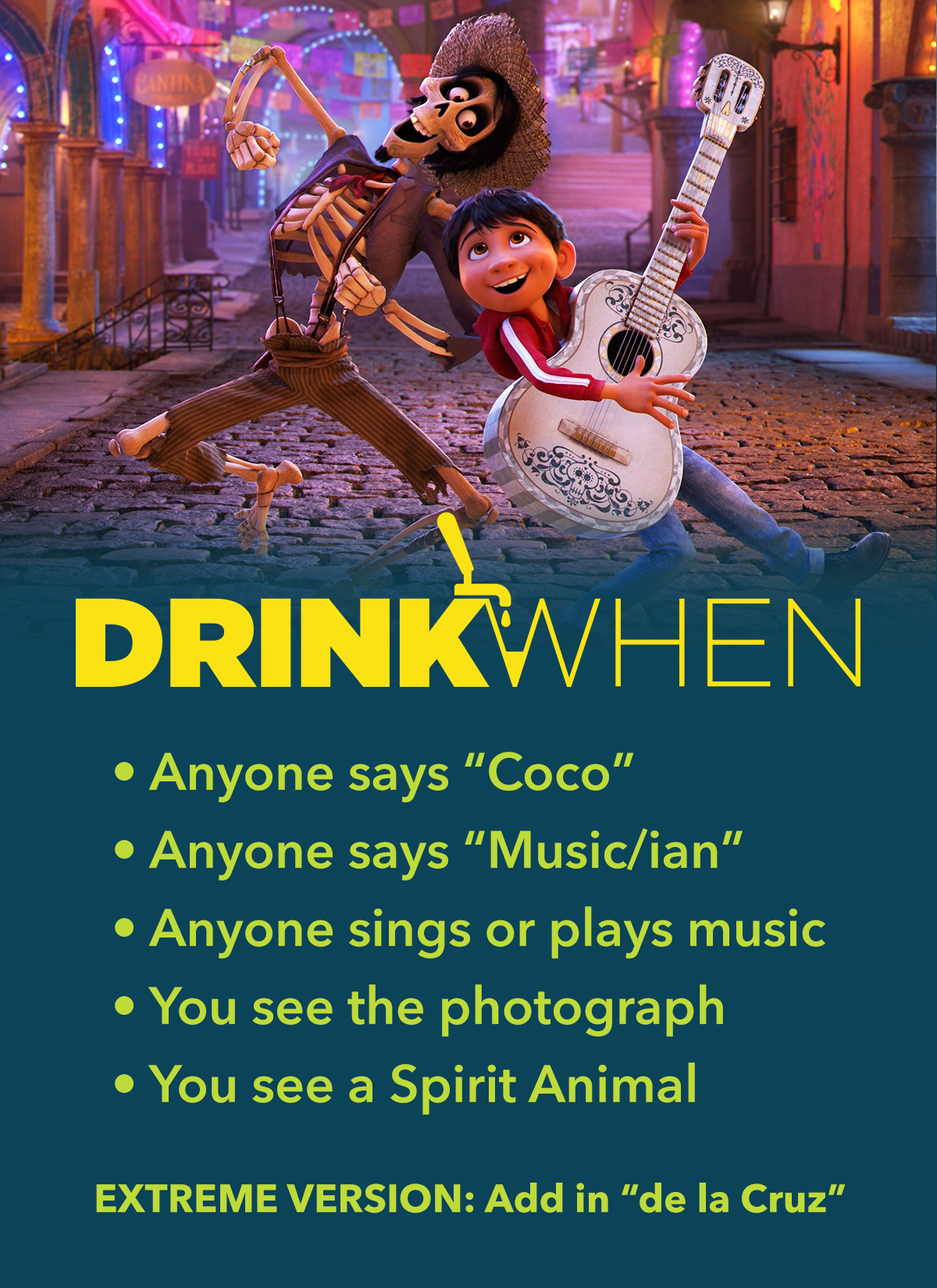 Drink When Pixar Coco Drinking Game