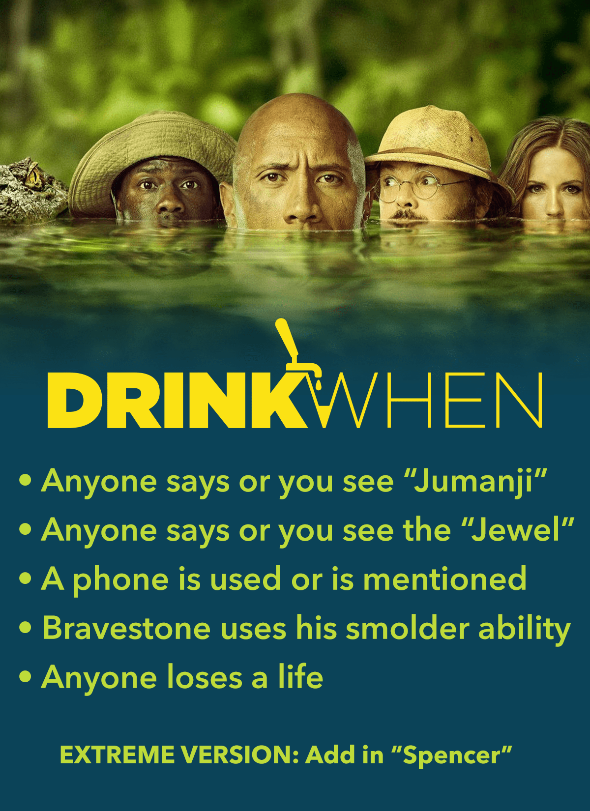 Drink When Jumanji Welcome to the Jungle Drinking Game