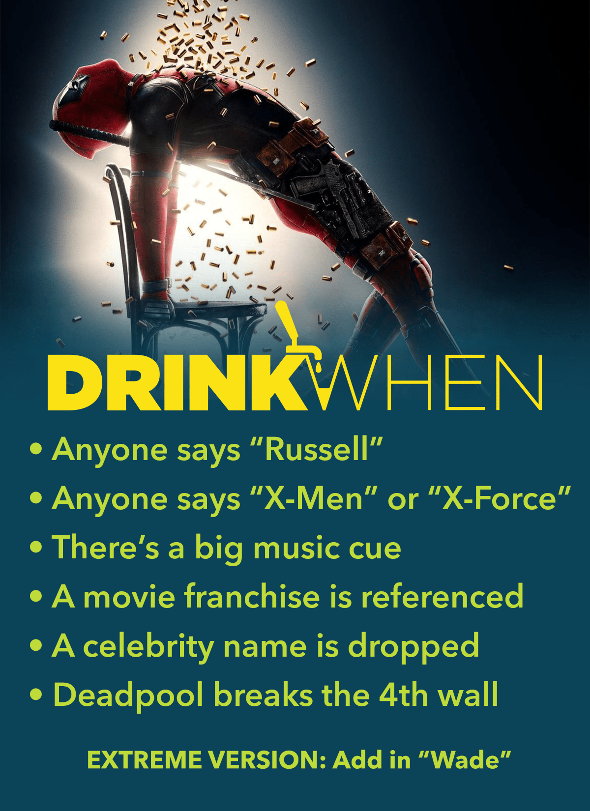 Drink When Deadpool 2 Drinking Game