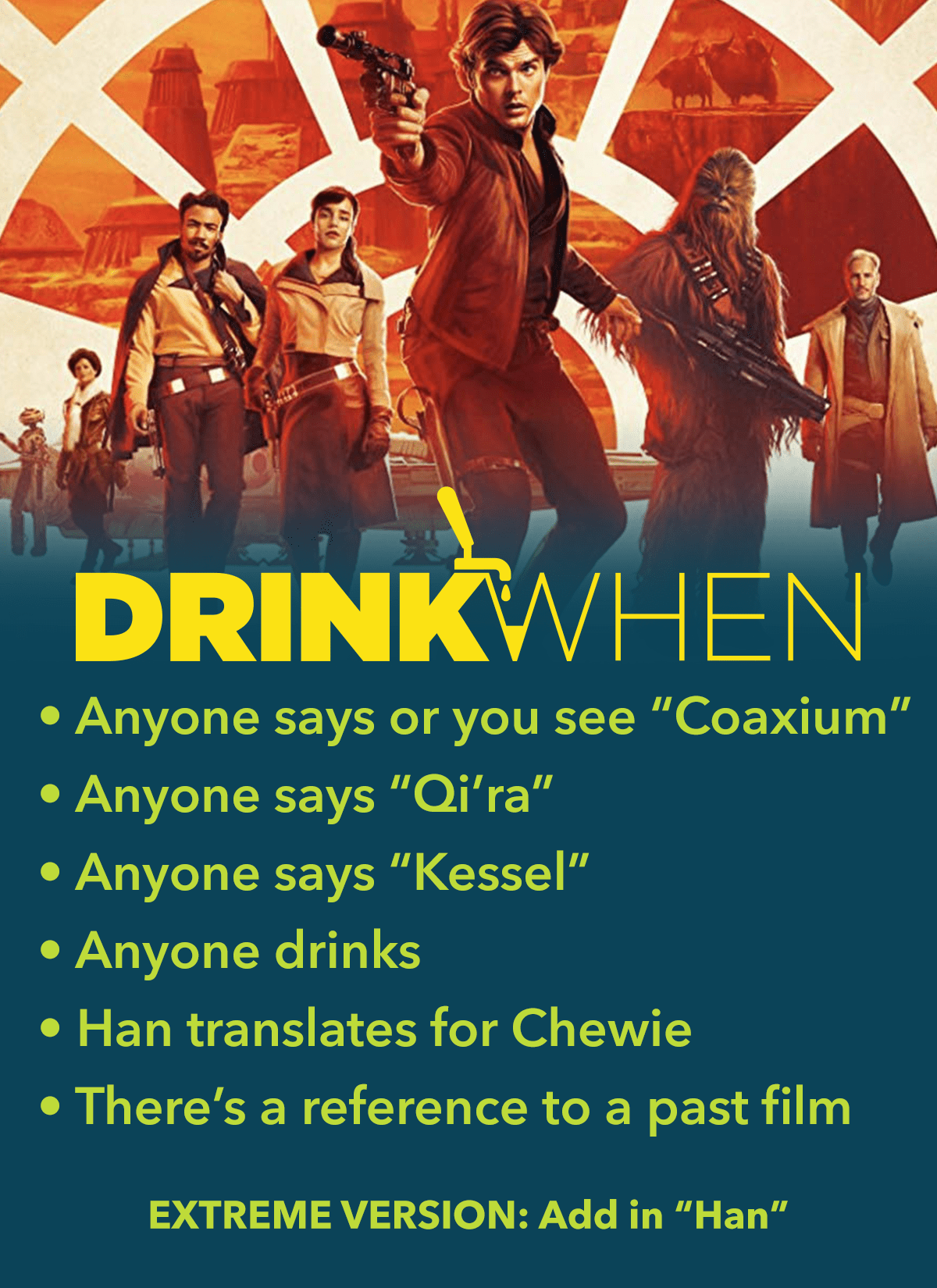 Drink When Solo A Star Wars Story Drinking Game