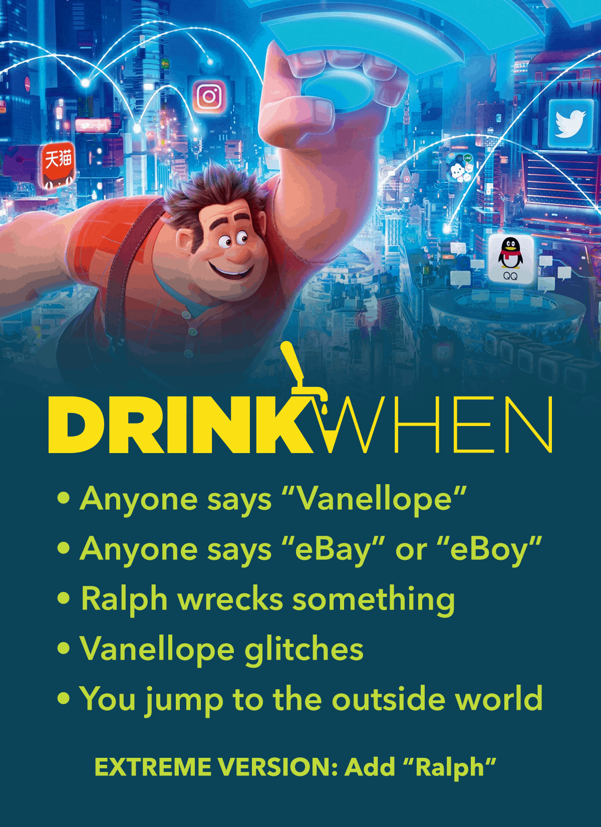 Drink When Ralph Breaks the Internet Drinking Game